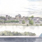 Dessin, Mehdi Zannad, Angers, projet de réhabilitation des rives de la Maine, 2013 - Graphite et aquarelle sur papier, 20 x 40 cm