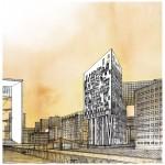 Dessin, Mehdi Zannad, Castle Light, La Défense pour Louis Paillard Architect - Graphite et aquarelle sur papier 40 x 40 cm