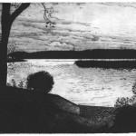 Mehdi Zannad, estampe, gravure, Lac de Créteil, 2015 - Eau-forte et aquatinte, 15 x 20 cm